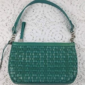 ELLIOTT LUCCA Green Woven Leather Handbag Purse